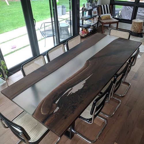 Walnut and Epoxy Live Edge Dining Table