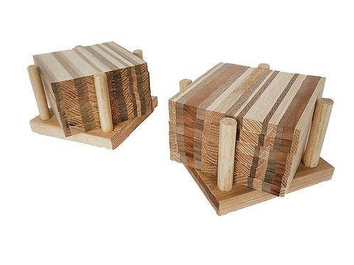 Mixed Reclaimed Wood Coaster Set