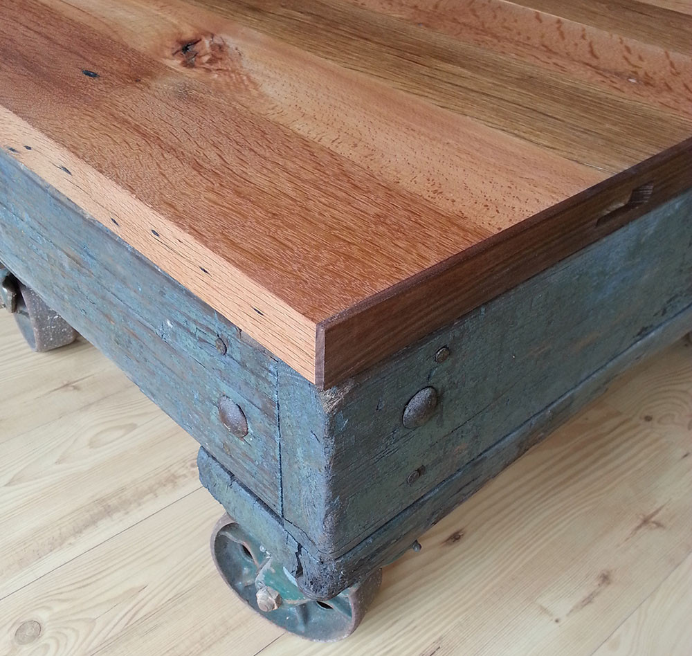 Industrial cart coffee table w reclaimed