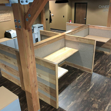 Reclaimed Wood and Felt Workstations