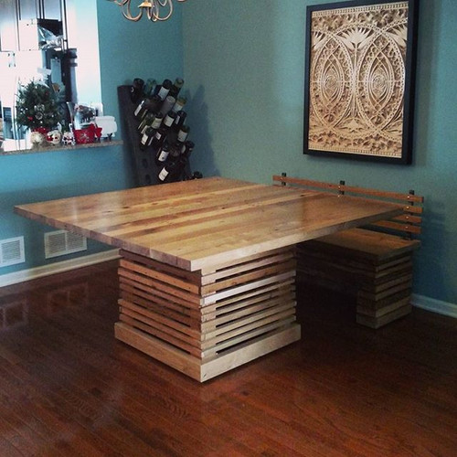 Wood slat dining table and bench