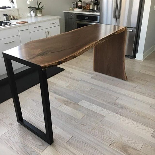 Live edge Waterfall walnut kitchen bar