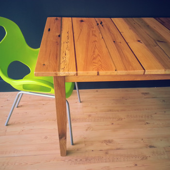 Seven species reclaimed wood dining table