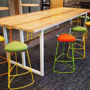 Contemporary reclaimed wood and steel trestle table