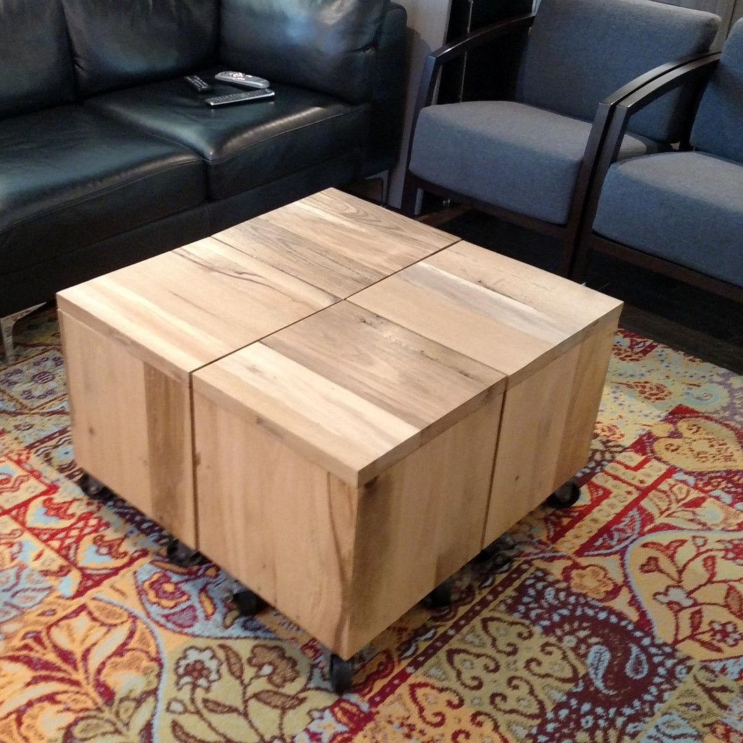 Mixed Reclaimed Wood Box on Casters Coff