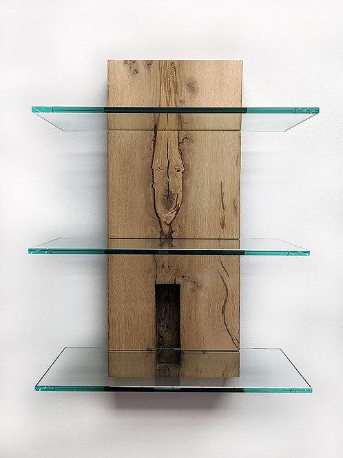 Resawn barn beam and glass wall shelf
