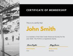 FC Historical Society Membership Certifi