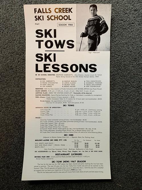 Framed Poster - 1966 Ski School Info
