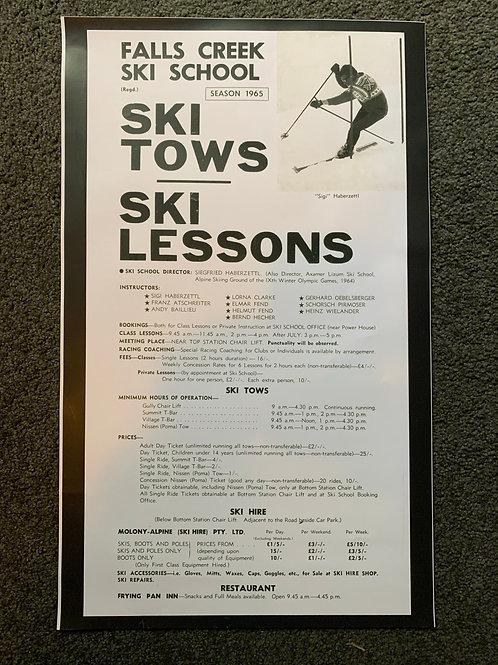 Poster - 1965 Ski School Info