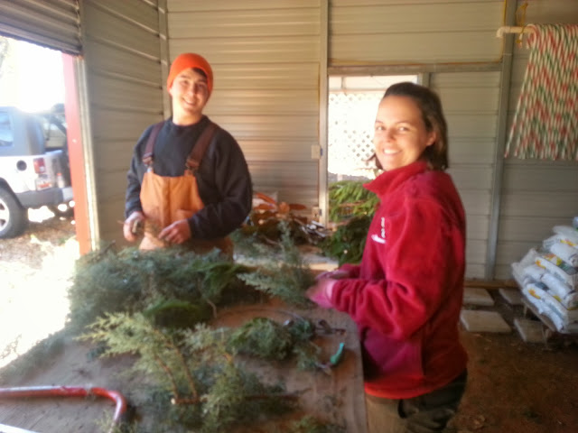 Hard at work making wreaths!