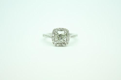 White Diamond Halo Setting Ring Poom Gems Jewelry