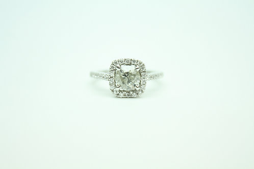 White Diamond Halo Setting Ring