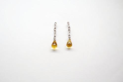 Citrine Diamonds White Gold Dangle Earrings