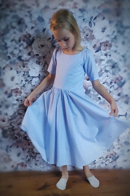 Sukienka błękitna krateczka rozmiary 98-152