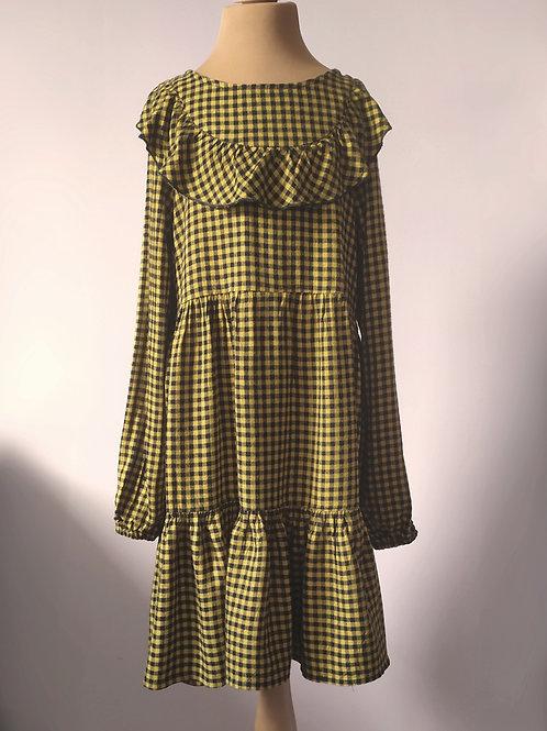 Sukienka musztardowa w kratkę