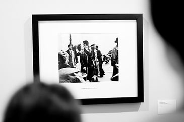 Custom black and white photo in a frame. Black frame with a white mounting board.
