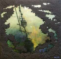 차분하게 가라앉은 오후 전신주 앞에서 80cm X 80cm Oil & M