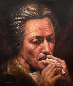 담배불 붙이는 이중섭 선생님. 20호 유화(원본)