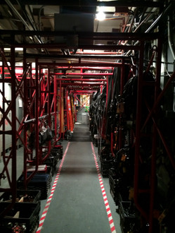 the hallway under the seats at SNL
