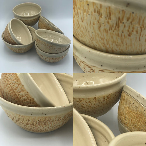 Set of 4 Chattered Bowls (six are shown-4 left)