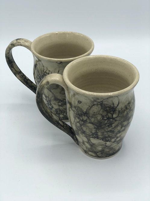 Set of 2 black bubble glaze mugs