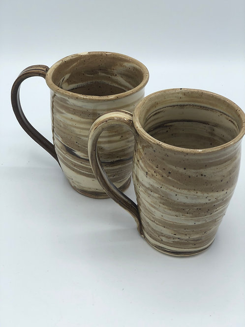 Set of 2 Tricolor Clay Mugs