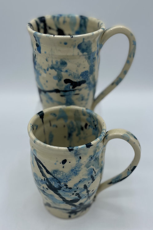 Set of 2 Blue Splatter Mugs