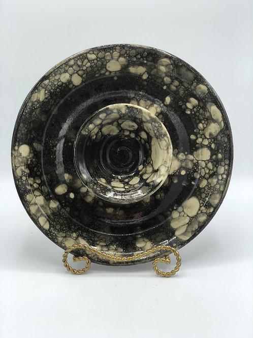 """Black Bubble Glaze 11"""" Chip/Dip Platter"""