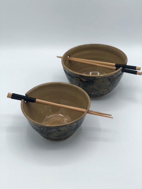 Chrysanthemum Ramen Bowls with Chopsticks