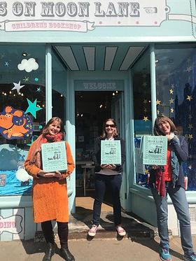 Outside Tales on Moon Lane Bookshop with karen owen and Mo O'Hara