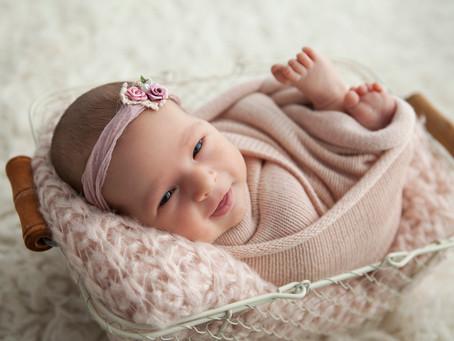 A smiling cherub named Octavia | Illawarra Newborn Photography | Nina Photography (Wollongong)
