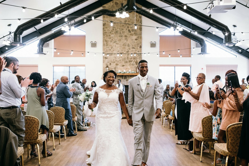 Bride and Groom are all smiles after tying the knot at the Overlook at Redstone Arsenal