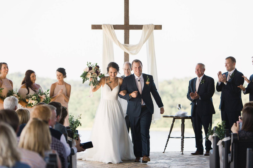 The happy couple after the ceremony at Flagstone Farm