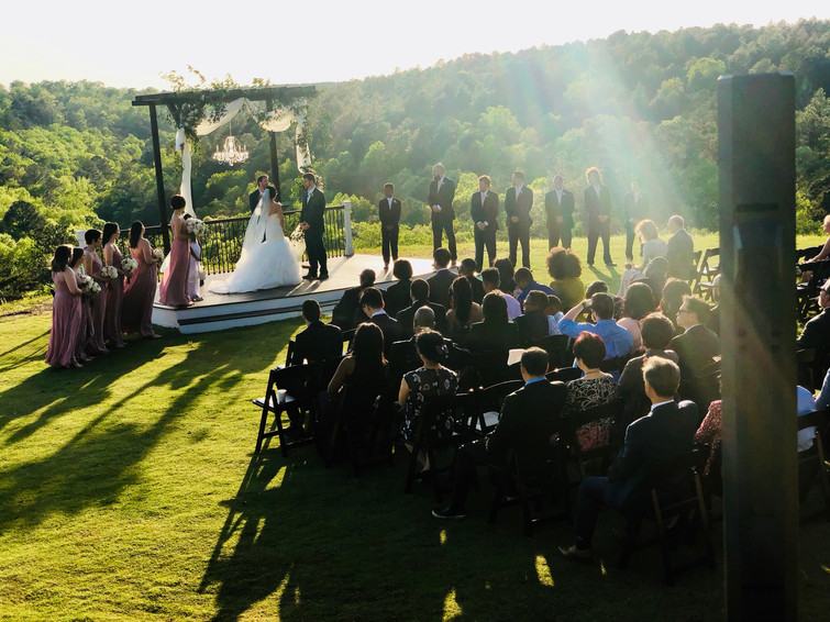 Wedding ceremony at Windgate Farms in Jasper, AL