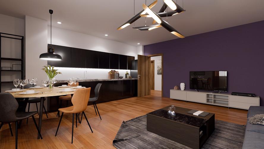 Living cu bucatarie deschisa partial Casa Presei Residence