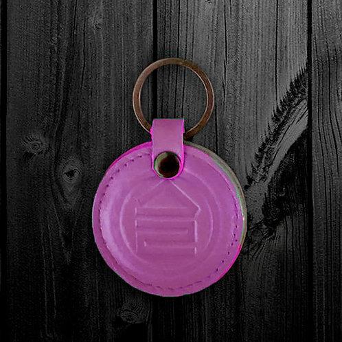 Брелок кожаный розовый