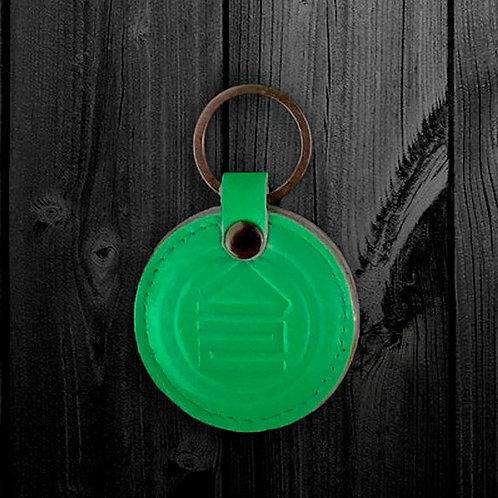 Брелок кожаный зелёный