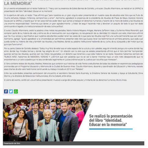 UNPAZ Noticias - Presentación del libro Identidad