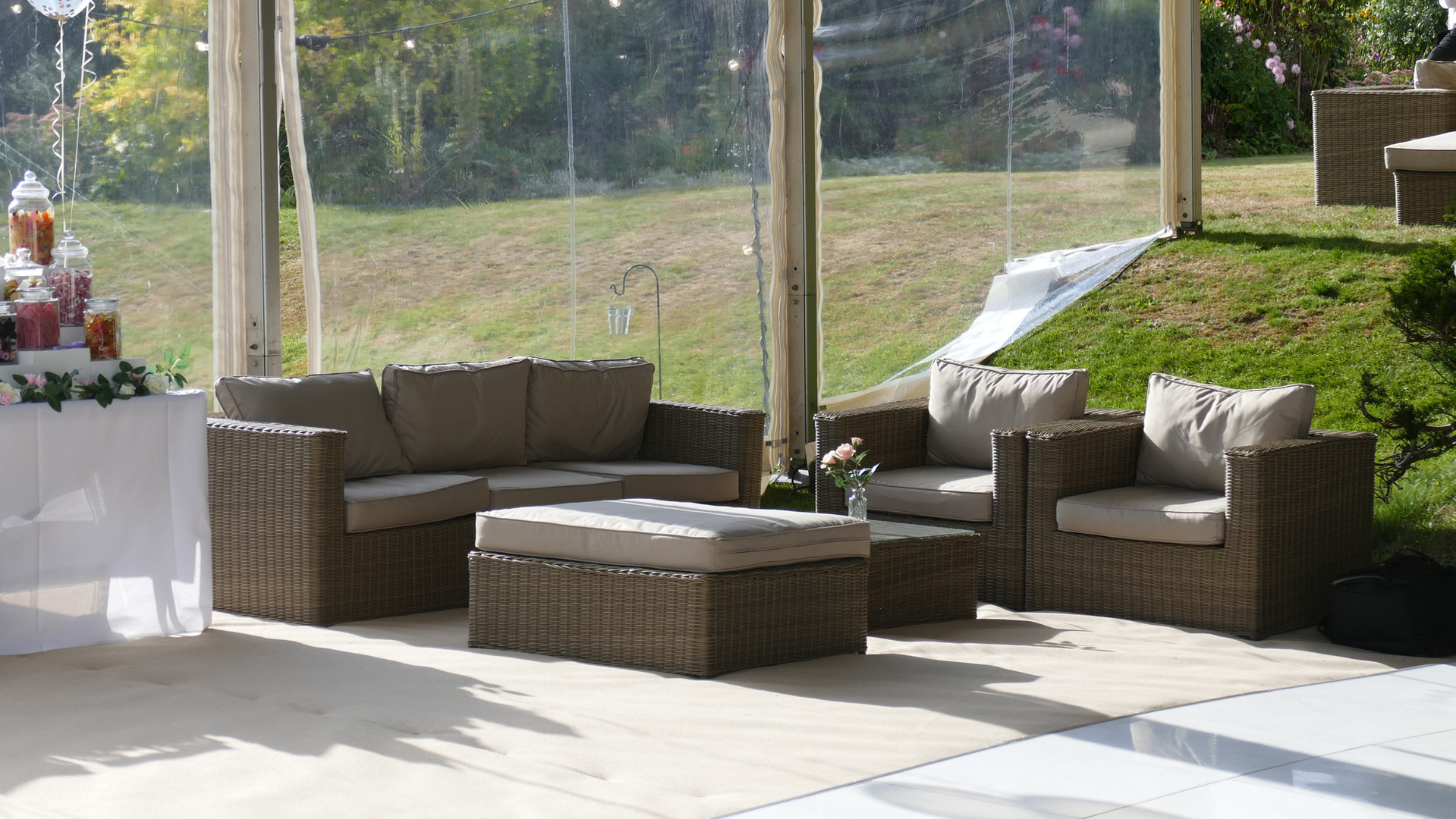Marlin Marquees Rattan Sofa Set with ext
