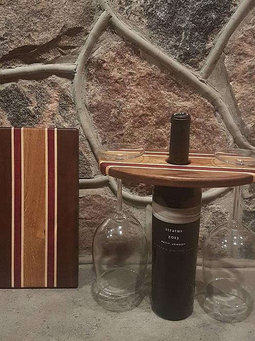 Wine Caddy & Cheeseboard Set (Black Walnut, Maple, Purpleheart, & White Oak)