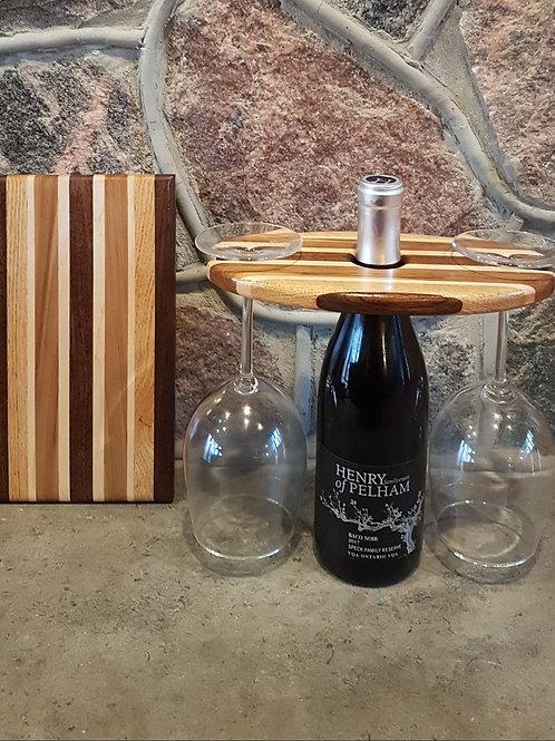Wine Caddy & Cheeseboard Set (Black Walnut, Red Oak, Maple, & Black Gum)