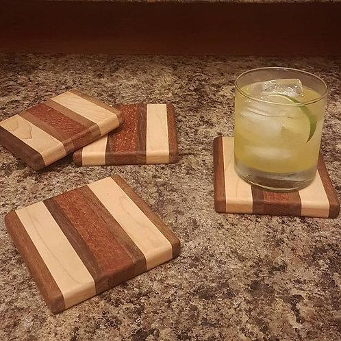Coaster Set (Black Walnut, Maple, & Lacewood)