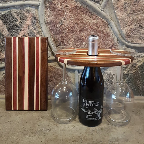 Wine Caddy & Cheeseboard Set (Black Walnut, Maple, & Purpleheart)