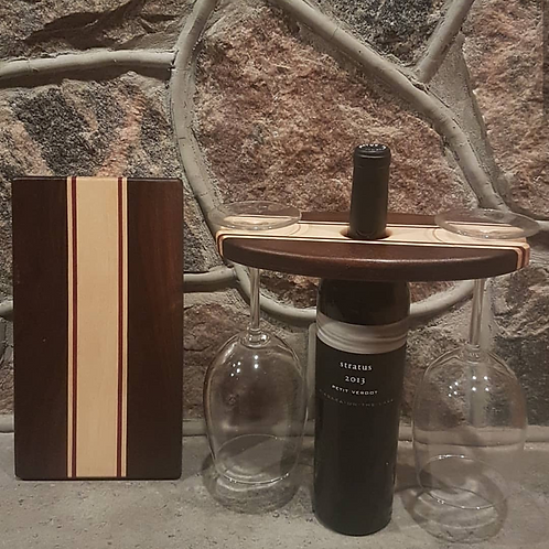 Wine Caddy & Cheeseboard Set (Peruvian Walnut, Maple, & Purpleheart)