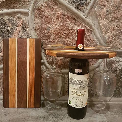 Wine Caddy & Cheeseboard Set (Black Walnut, Canarywood, & Maple)