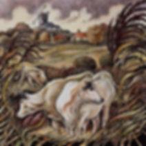 Cattle, windmill, landscape