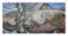 Willow tree, gulls, stream