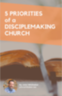 a picture of the free ebook cover. It includes a picture of a bible. The title is Five Priorities of a disciple making church.