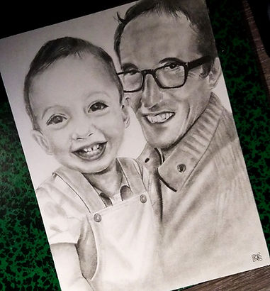 Petit fils avec son papi qu'il n'a jamais connu