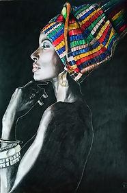 Femme afro foulard